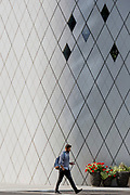 Geometric angles and diagonal lines on new architecture at Southwark SE1, on 7th September 2018, in London, England