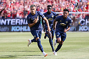 Manchester United goalkeeper Andreas Pereira scores a goal and celebrates 1-1 during the Manchester United and Liverpool International Champions Cup match at the Michigan Stadium, Ann Arbor, United States on 28 July 2018.