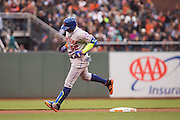 New York Mets center fielder Yoenis Cespedes (52) rounds second base after hitting a home run against the San Francisco Giants at AT&T Park in San Francisco, Calif., on August 21, 2016. (Stan Olszewski/Special to S.F. Examiner)