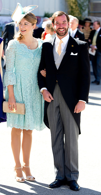 21-09-2013 - Saint-Maximin-La-Sainte-Baume - Princess Stephanie of Luxembourg and Prince Guillaume of Luxembourg  Prince Felix of Luxembourg (R) and his wife German student Claire Lademacher leave the church after their religious wedding ceremony on September 21, 2013 at the Saint Mary Magdalene Basilica in Saint-Maximin-La-Sainte-Baume, southern France.  COPYRIGHT ROBIN UTRECHT