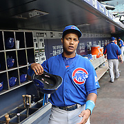 Starlin Castro, Chicago Cubs, in the dugout preparing to bat during the New York Mets Vs Chicago Cubs MLB regular season baseball game at Citi Field, Queens, New York. USA. 30th June 2015. Photo Tim Clayton
