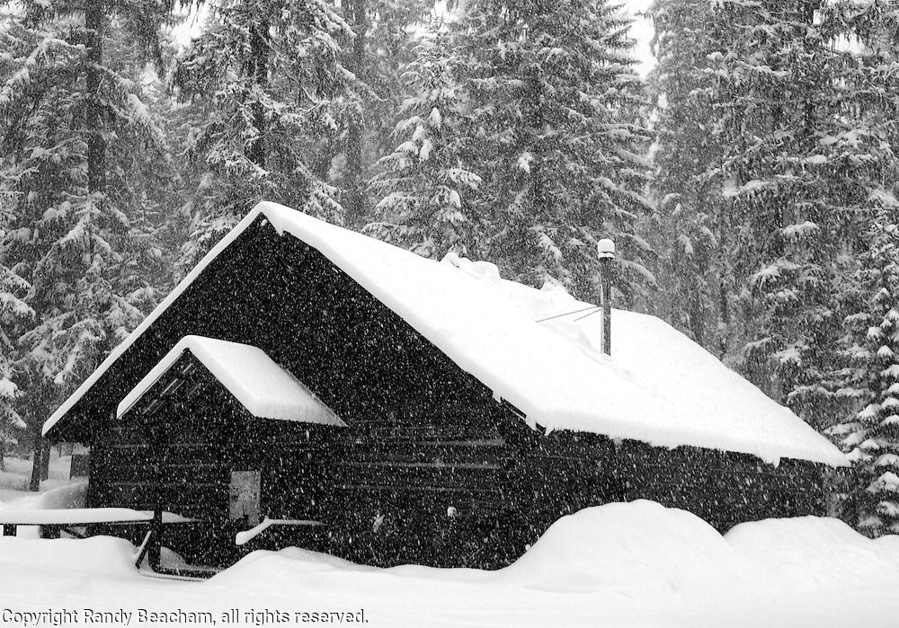Yaak Community Hall in winter. Yaak Valley, northwest Montana.