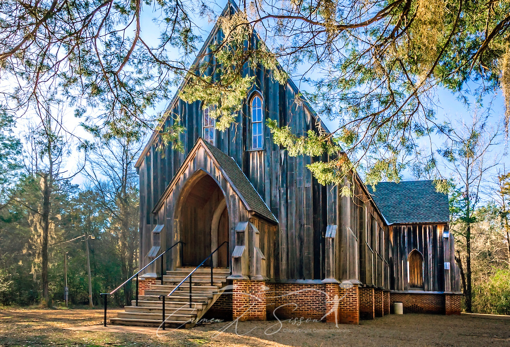 "St. Luke's Episcopal Church is pictured, Feb. 7, 2015, in Orrville, Alabama. The Carpenter Gothic church was designed by Richard Upjohn and built in 1854. It was relocated to Old Cahawba Archaeological Park in 2007. The church is listed in the National Register of Historic Places and is owned by the Alabama Historical Commission. Cahaba, also known as ""Old Cahawba,"" was Alabama's state capital from 1819-1826 but was abandoned after the Civil War. It is now considered a ghost town. It is located in Dallas County near Selma, Alabama. (Photo by Carmen K. Sisson/Cloudybright)"