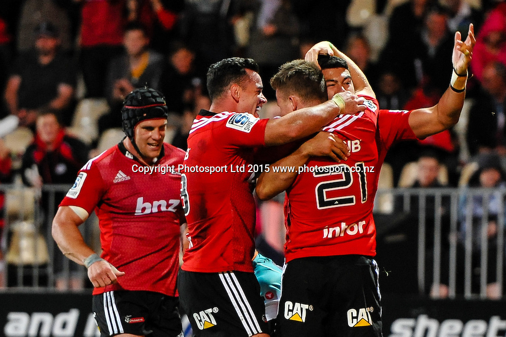 David Havili of the Crusaders celebrates his try during the Super Rugby match, Crusaders v Cheetahs, 21 March 2015 at AMI Stadium, Christchurch. Copyright Photo: John Davidson / www.Photosport.co.nz
