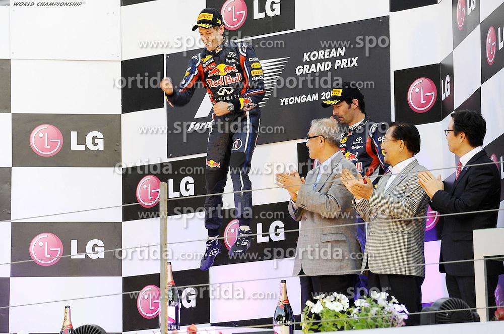 16.10.2011, Korea-International-Circuit, Yeongam, KOR, F1, Großer Preis von Südkorea, Yeongam, im Bild Podium - Sebastian Vettel (GER), Red Bull Racing -  Mark Webber (AUS), Red Bull Racing // during the Formula One Championships 2011 Large price of Korea held at the Korea-International-Circuit, 2011-10-16  EXPA Pictures © 2011, PhotoCredit: EXPA/ nph/  Dieter Mathis       ****** out of GER / CRO  / BEL ******