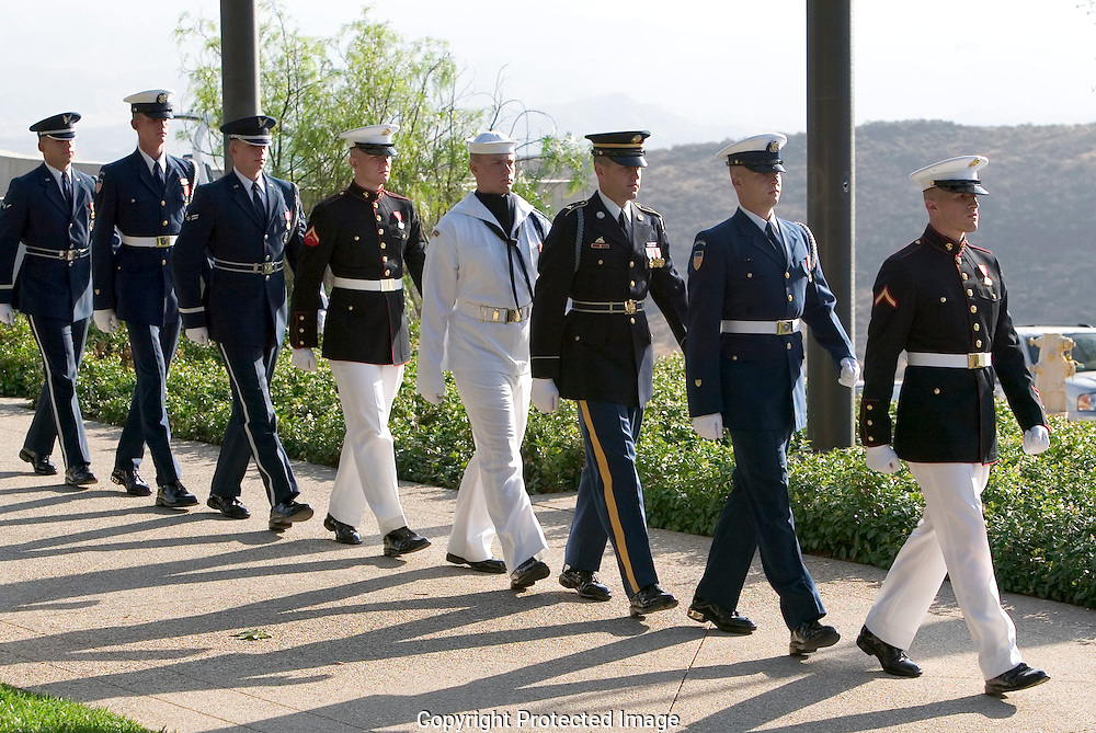 Members of the honor guard move into their place before the moving of Ronald Reagan's remains..Ronald Reagan Library, Simi Valley, CA USA 6/9/04.