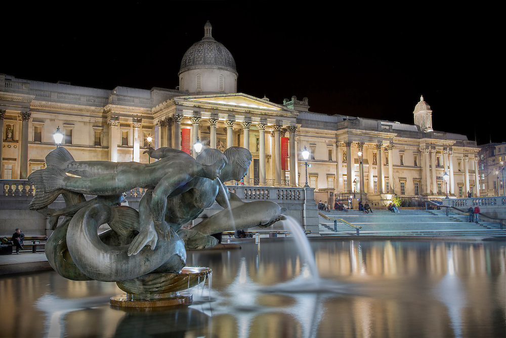 National Gallery, Trafalgar Square. London at night