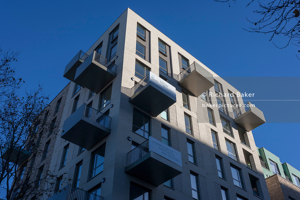 Newly-built flats developed by Harvard Gardens, on Thurlow Street, on 28th November 2016, in the south London borough of Southwark, England.