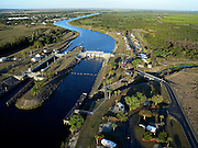 Aerial of Ortona lock and Ortona Campground on the Okeechobee Waterway in South Central Florda.
