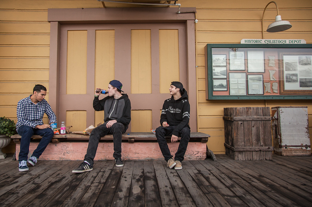 Twenty somethings: Francisco Alfaro, Luke Morgan and Dylan Gerttula take a lunch break at the historic Train Station building in Calistoga.