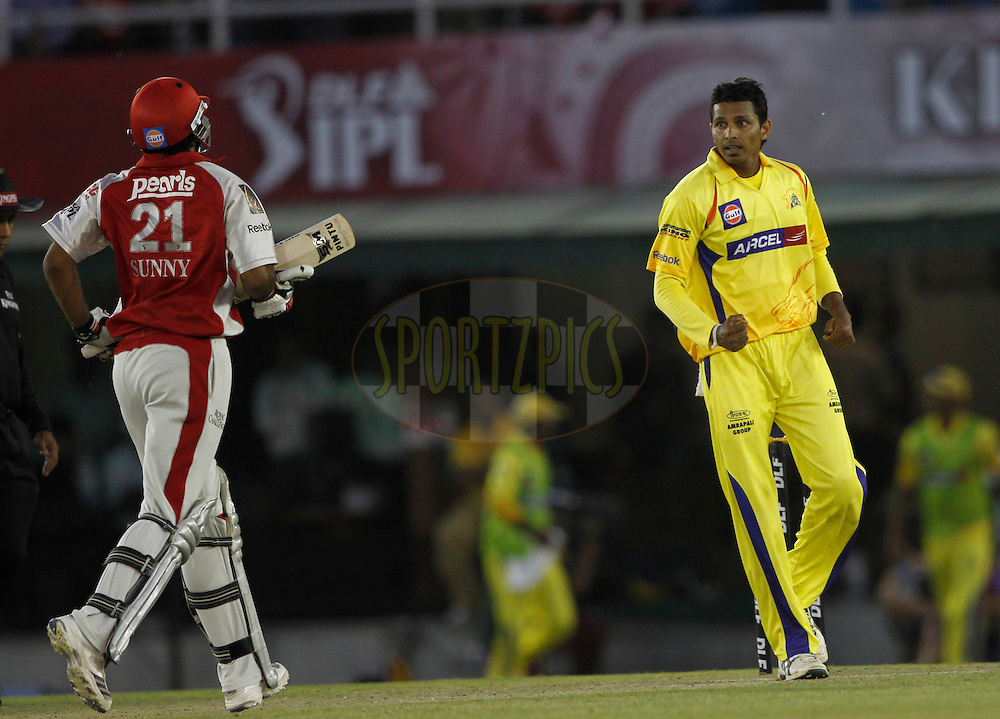 Chennai Super King player Suraj Randiv celebrates the wicket of Kings XI Punjab Sunny Singh during match 9 of the Indian Premier League ( IPL ) Season 4 between the Kings XI Punjab and the Chennai Super Kings held at the PCA stadium in Mohali, Chandigarh, India on the 13th April 2011..Photo by Pankaj Nangia/BCCI/SPORTZPICS