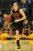 Dec 3, 2009; Long Beach, CA, USA; Southern California Trojans guard Ashley Corral (24) dribbles up court during the game against the Long Beach State 49ers at the Walter Pyramid. USC defeated Long Beach State 83-77.