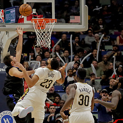 Dec 3, 2018; New Orleans, LA, USA; LA Clippers forward Danilo Gallinari (8) shoots over New Orleans Pelicans forward Anthony Davis (23) during the second half at the Smoothie King Center. Mandatory Credit: Derick E. Hingle-USA TODAY Sports