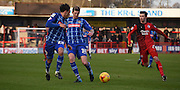 Jon Stead plays a through ball during the Sky Bet League 2 match between Crawley Town and Notts County at the Checkatrade.com Stadium, Crawley, England on 16 January 2016. Photo by Michael Hulf.