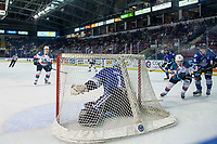 KELOWNA, CANADA - AUGUST 31:  Brock Gould #1 of the Victoria Royals defends the net against the Kelowna Rockets on August 31, 2018 at Prospera Place in Kelowna, British Columbia, Canada.  (Photo by Marissa Baecker/Shoot the Breeze)  *** Local Caption ***