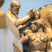 Sacrifice sculpture by Leo Friedlander, one of four statues in the Arts of War, Sacrifice, and Valor series on the corners of Memorial Bridge and Theodore Roosevelt Bridge that were gifts from the people of Italy. The Sacrifice sculpture is on the northeast corner of the bridge and is the closest of the four to the Lincoln Memorial. The statues were dedicated on 26 September 1951. The other statues are named Aspiration and Literature Music and Harvest, and Valor.