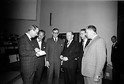 "25/03/1966<br /> 03/25/1966<br /> 25 March 1966<br /> Shock Symposium at UCD, Belfield, Dublin. The symposium on medical ""Shock"" sponsored by Pharmacia International was held at the Department of Science at U.C.D.. Over 250 attended the symposium that was presided over by Prof. P. FitzGerald M.D., M.Ch., M.Sc F.R.C.S.I.. Picture shows (l-r): Profeeor E. O'Malley, M.Ch., F.R.C.S.I.; Dr U.F. Gruber, M.D. (Switzerland); Dr H. Hint, M.D., (Sweden); Prof. P. FitzGerald; Mr P. Brady, M.Ch., F.R.C.S.I. and Dr. L.G. O'Connell, M.B., M.Sc. who gave papers at the event.<br /> O'Malley: ""General Aspects of Shock""; <br /> Gruber: ""Volume Replacement in Shock"";<br /> Hint: ""The Relation Between Molecular Weight of Dextran and its Effects""; <br /> Brady: ""Renal Function in Shock"";<br /> O'Connell: ""Haematological Aspects of Shock""."