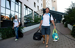 Athlete Bostjan Buc and World Champion Primoz Kozmus of Slovenia at departure back to Slovenia during day five of the 12th IAAF World Athletics Championships at the Hotel Estrel on August 18, 2009 in Berlin, Germany. (Photo by Vid Ponikvar / Sportida)