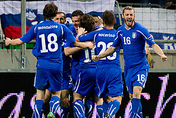 Players of Italy celebrate after Thiago Motta scored during EURO 2012 Quaifications game between National teams of Slovenia and Italy, on March 25, 2011, SRC Stozice, Ljubljana, Slovenia. Italy defeated Slovenia 1-0.  (Photo by Vid Ponikvar / Sportida)