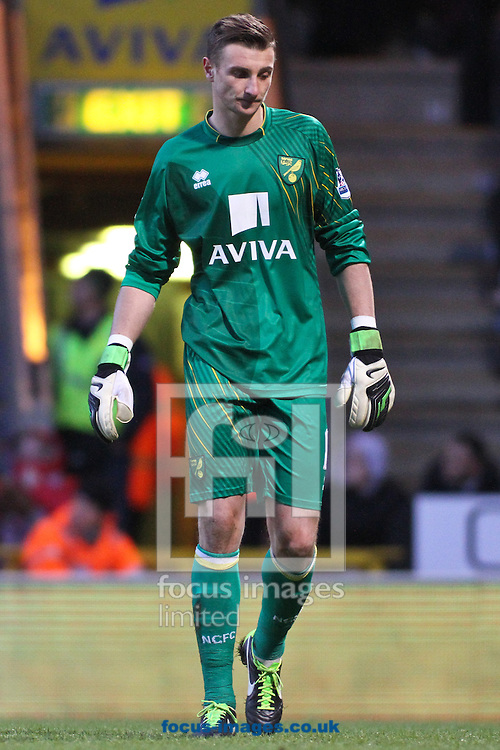Picture by David Horn/Focus Images Ltd +44 7545 970036.26/01/2013.John Ruddy of Norwich City looks dejected during the The FA Cup match at Carrow Road, Norwich.