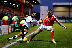 Korey Smith of Bristol City is challenged by Oliver Turton of Crewe Alexandra - Photo mandatory by-line: Rogan Thomson/JMP - 07966 386802 - 20/12/2014 - SPORT - FOOTBALL - Crewe, England - Alexandra Stadium - Crewe Alexandra v Bristol City - Sky Bet League 1.