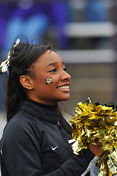 Nov 14, 2009; Manhattan, KS, USA; A Missouri Tigers cheerleader entertains the crowd during the game against the Kansas State Wildcats at Bill Snyder Family Stadium. The Tigers won 38-12. Mandatory Credit: Denny Medley-US PRESSWIRE