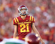 September 3, 2009: Iowa State kicker Grant Mahoney (21) eyes up the goal posts before an extra point attempt during the first half of the Iowa State Cyclones' 34-17 win over the North Dakota State Bison at Jack Trice Stadium in Ames, Iowa on September 3, 2009.