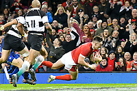 Rugby Union - 2019 / 2020 season - Wales vs. Barbarians<br /> <br /> Josh Adams of Wales  scores a try , at The Principality (Millennium) Stadium.<br /> <br /> COLORSPORT/WINSTON BYNORTH