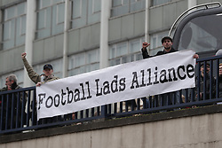 © Licensed to London News Pictures . 24/03/2018. Birmingham, UK. FLA demo . The Football Lads Alliance and offshoot group, The True Democratic Football Lads Alliance, hold separate demonstrations against extremism in Birmingham city centre , opposed by anti-fascist groups , including Stand Up to Racism . Photo credit: Joel Goodman/LNP