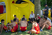 Lucerne, SWITZERLAND, 12th July 2018, Friday China Coach, Bernhard STOMPOROWSKI,  Talks with his athletes sitting round, FISA World Cup series, No.3, Lake Rotsee, Lucerne,