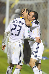 Los Angeles Galaxy's London Donovan kisses David Beckham after beating the Houston Dynamo 1-0 in the MLS Cup at the Home Depot Center. Los Angeles Galaxy 1-0 over the Dynamo USA, Sunday, Nov. 20. 20011, in Carson, California. Photo by Matt A. Brown/isiphotos.com