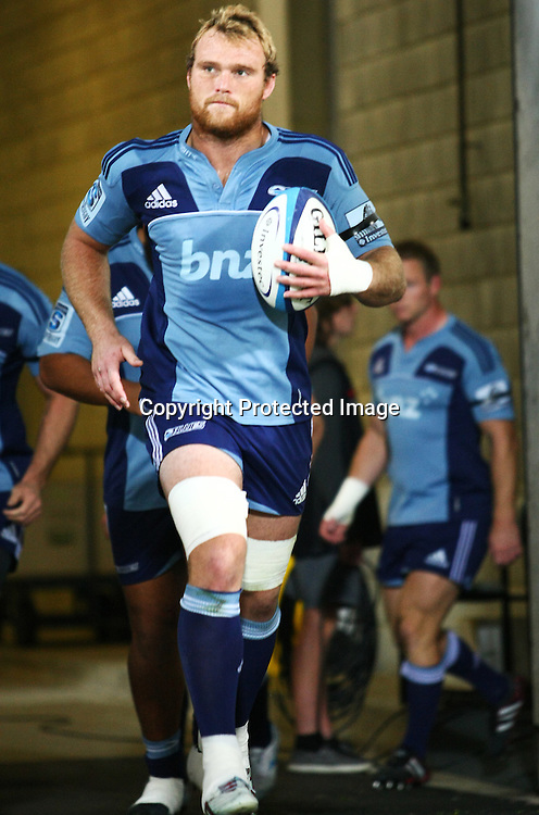 Blues' captain Luke Braid leads the team out during their Super Rugby match, Hurricanes v Blues, Westpac stadium, Wellington, New Zealand. Friday 4 May 2012.  PHOTO: Grant Down / photosport.co.nz