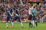 Sunderland midfielder Lee Cattermole appeals to the referee  during the Barclays Premier League match between Sunderland and Newcastle United at the Stadium Of Light, Sunderland, England on 25 October 2015. Photo by Simon Davies.