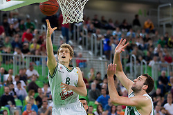 Jaka Blazic of Union Olimpija vs Jure Lalic of Krka during basketball match between KK Union Olimpija and KK Krka in 4th Final match of Telemach Slovenian Champion League 2011/12, on May 24, 2012 in Arena Stozice, Ljubljana, Slovenia.  (Photo by Vid Ponikvar / Sportida.com)