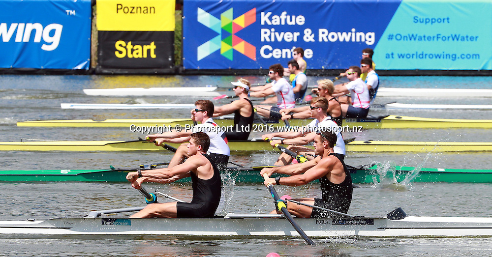 M2 Mens Pair - Eric Murray and Hamish Bond in NZL 1 with Axel Dickinson and Drikus Conradie in NZL 2 in the semi final. 18 June 2016.<br /> World Rowing Cup III in Poznan, Poland. 16-19 June 2016.<br /> Copyright photo: www.photosport.nz