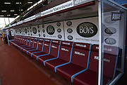 Empty dugouts before the Sky Bet Championship match between Burnley and Blackburn Rovers at Turf Moor, Burnley, England on 5 March 2016. Photo by Simon Brady.
