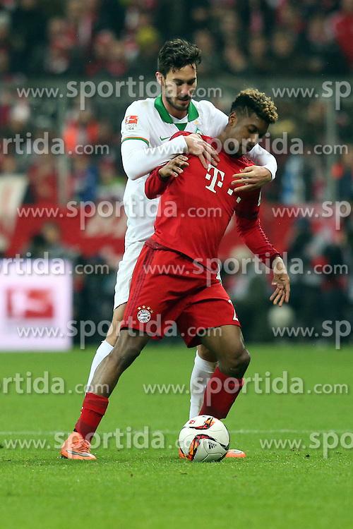12.03.2016, Allianz Arena, Muenchen, GER, 1. FBL, FC Bayern Muenchen vs SV Werder Bremen, 26. Runde, im Bild Santiago Garcia ( SV Werder Bremen ) Kingsley Coman (FC Bayern Muenchen) // during the German Bundesliga 26th round match between FC Bayern Munich and SV Werder Bremen at the Allianz Arena in Muenchen, Germany on 2016/03/12. EXPA Pictures &copy; 2016, PhotoCredit: EXPA/ Eibner-Pressefoto/ Langer<br /> <br /> *****ATTENTION - OUT of GER*****