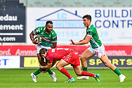 Iliesa Ratuva of Benetton Treviso is tackled by Dan Jones of Scarlets<br /> <br /> Photographer Craig Thomas/Replay Images<br /> <br /> Guinness PRO14 Round 3 - Scarlets v Benetton Treviso - Saturday 15th September 2018 - Parc Y Scarlets - Llanelli<br /> <br /> World Copyright &copy; Replay Images . All rights reserved. info@replayimages.co.uk - http://replayimages.co.uk