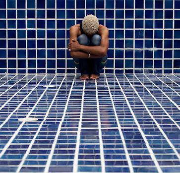 Model in empty pool in Bangkok