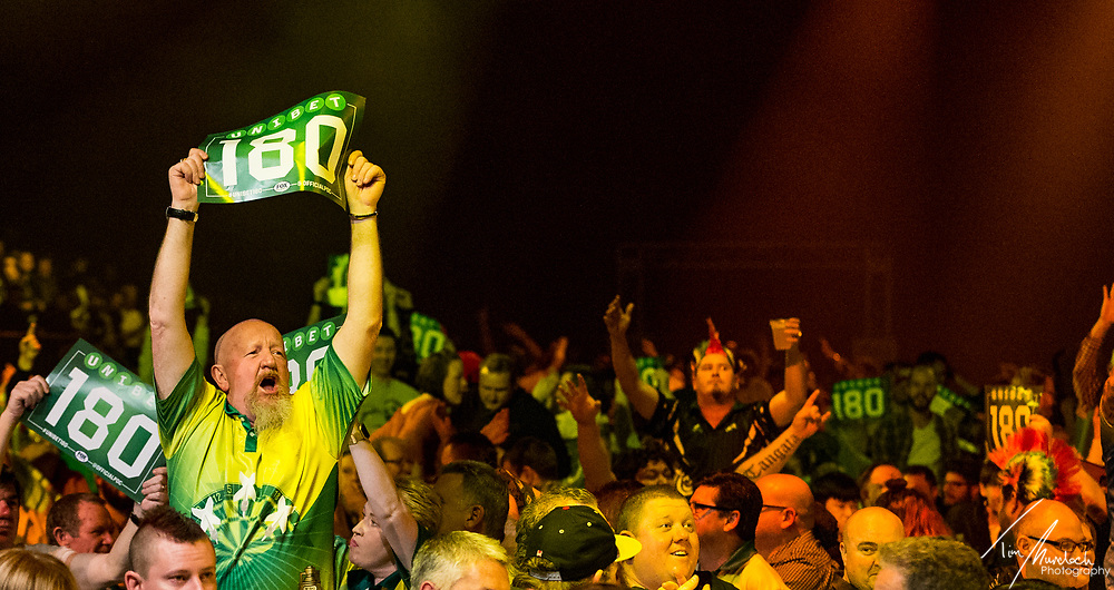 MELBOURNE, Australia - Friday 18 August 2017: Crowd celebrate a 180 during the Unibet Melbourne Dart Masters at Hisense Arena on Friday 18 August 2017.<br /> Photo Credit: Tim Murdoch/Tim Murdoch Photography