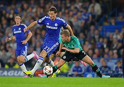 Chelsea's Nemanja Matic battles for the ball with FC Schalke 04's Max Meyer  - Photo mandatory by-line: Joe Meredith/JMP - Mobile: 07966 386802 - 17/09/2014 - SPORT - FOOTBALL - London - Stamford Bridge - Chelsea v Schalke 04 - Champions League Group Stage