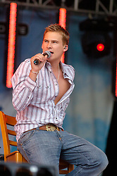 Lee Ryan formerly of the boy band Blue at Party In The Park Temple Newsome Leeds.<br />