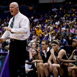 Mar 24, 2013; Baton Rouge, LA, USA; Green Bay Phoenix head coach Kevin Borseth reacts against the LSU Tigers in the first half of the first round of the 2013 NCAA womens basketball tournament at the Pete Maravich Assembly Center.  Mandatory Credit: Derick E. Hingle-USA TODAY Sports