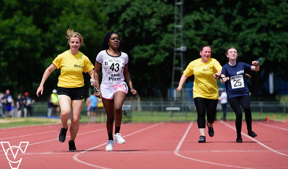 Metro Blind Sport's 2017 Athletics Open held at Mile End Stadium.  100m.  Precious Ntumy-Kamara with guide runner and Christina Tytler with guide runner<br /> <br /> Picture: Chris Vaughan Photography for Metro Blind Sport<br /> Date: June 17, 2017