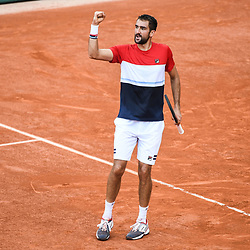 Marin Cilic celebrates (Croatia) during Day 9 for the French Open 2018 on June 4, 2018 in Paris, France. (Photo by Anthony Dibon/Icon Sport)