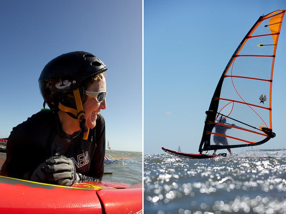 Senior Wind Surfer, Active Elderly, Sport loving seniors.<br />