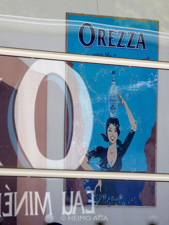 Advertising poster at the source of Eau d'Orezza (Orezza mineral water).