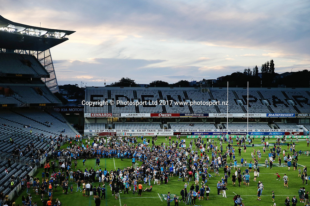Fans enjoy their on field experience after the match. Super Rugby match, Blues v Force at Eden Park, Auckland, New Zealand. 1 April 2017 © Copyright Photo: Anthony Au-Yeung / www.photosport.nz