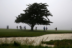 June 12, 2019 - Pebble Beach, CA, U.S. - PEBBLE BEACH, CA - JUNE 12: PGA golfer Sepp Straka plays the 18th hole in the fog during a practice round for the 2019 US Open on June 12, 2019, at Pebble Beach Golf Links in Pebble Beach, CA. (Photo by Brian Spurlock/Icon Sportswire) (Credit Image: © Brian Spurlock/Icon SMI via ZUMA Press)