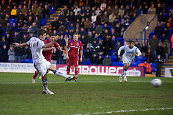 BIRKENHEAD, ENGLAND - Monday, January 3, 2011: Tranmere Rovers' Aaron Cresswell sees his penalty kick saved against Carlisle United, the third missed penalty of the game, during the Football League One match at Prenton Park. (Pic by: David Rawcliffe/Propaganda)